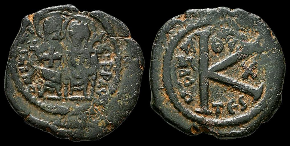 Justin II and Sophia, Half Follis. NP Collectables